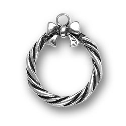 Pewter Holiday Christmas Wreath Charm