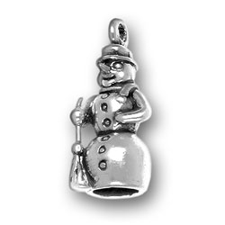 Pewter Holiday Snowman Charm