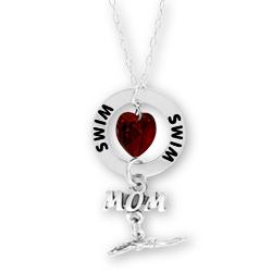 Swim Mom Affirmation Initial Necklace
