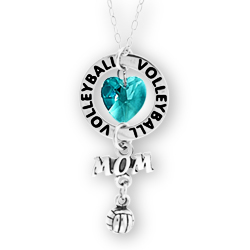 Volleyball Mom Ring Affirmation Initial Necklace