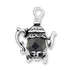 Teapot Charm With Black Bead Image
