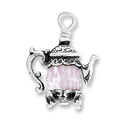 Teapot Charm With Pink Bead Image