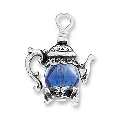 Teapot Charm With Rose Sapphire Bead Image