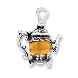Teapot Charm With Topaz Bead Image