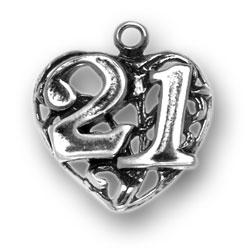 21 On Heart Charm Image