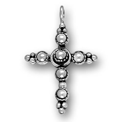 Thin Beaded Cross Charm Image