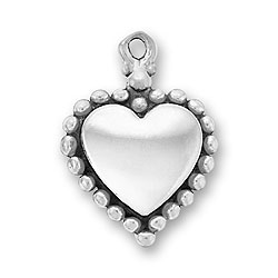 Smooth Beaded Heart Charm Image