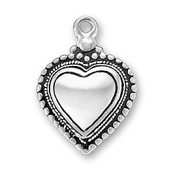 Puffed Beaded Heart Charm Image