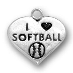 I Heart Softball Charm Image