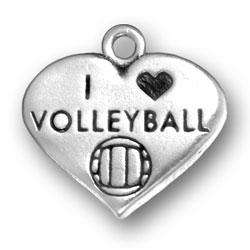 I Heart Volleyball Charm Image