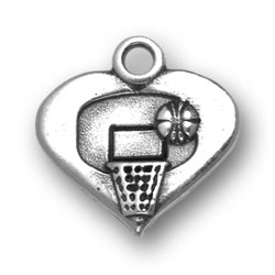 Basketball And Hoop Heart Charm Image