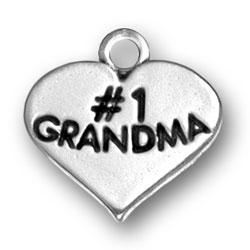 Number One Grandma Heart Charm Image