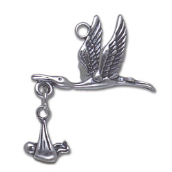 Moveable Stork And Baby Charm Image