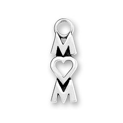Sterling Silver Mom Heart Charm Image