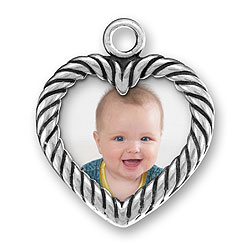 Two Sided Heart Picture Frame Charm Image