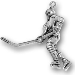 Hockey Player With Stick Charm Image