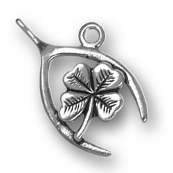 Wishbone With Four Leaf Clover Charm Image