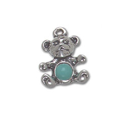 Teddy Bear Charm With Turquoise Stone Image