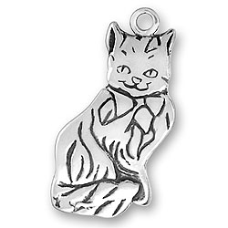 Large Flat Cat Charm Image