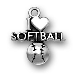 Sterling Silver I Heart Softball Charm Image