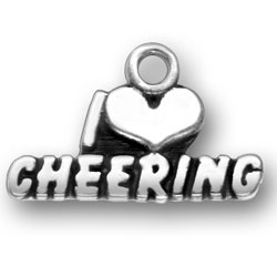 Sterling Silver I Heart Cheering Charm Image