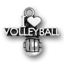 Sterling Silver I Heart Volleyball Charm Image
