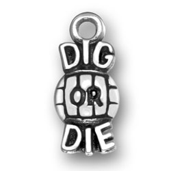Dig Or Die Volleyball Charm Image