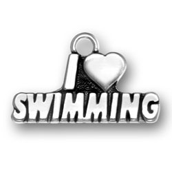 I Heart Swimming Charm Image