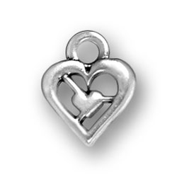 Small Heart Within A Heart Charm Image