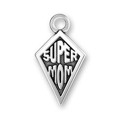 Sterling Silver Super Mom Charm Image