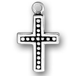 Cross With Border And Beads Charm Image