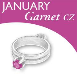Birthstone Ring Charm January Garnet Cz Image