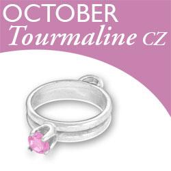 Birthstone Ring Charm October Tourmaline Cz Image