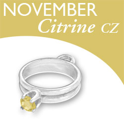 Birthstone Ring Charm November Citrine Cz Image