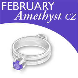 Birthstone Ring Charm February Amethyst Cz Image