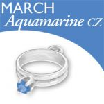 Birthstone Ring Charm March Aquamarine Cz Image
