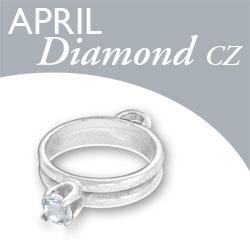 Birthstone Ring Charm April Diamond Cz Image