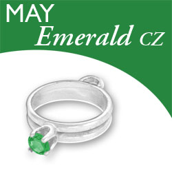 Birthstone Ring Charm May Emerald Cz Image