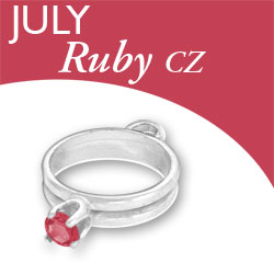 Birthstone Ring Charm July Ruby Cz Image