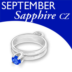 Birthstone Ring Charm September Sapphire Cz Image