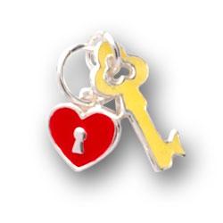 Yellow Enamel Key And Pink Enamel Heart Charm Image