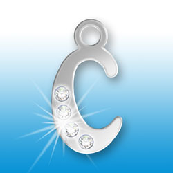 Letter C Initial Charm With Crystals Image