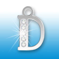 Letter D Initial Charm With Crystals Image