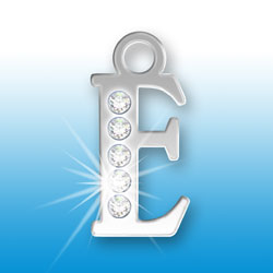 Letter E Initial Charm With Crystals Image