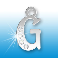 Letter G Initial Charm With Crystals Image