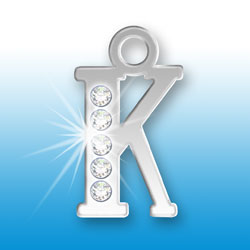 Letter K Initial Charm With Crystals Image