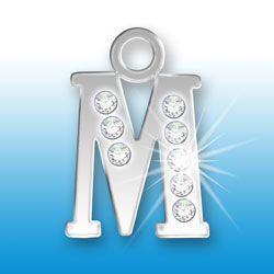 Letter M Initial Charm With Crystals Image