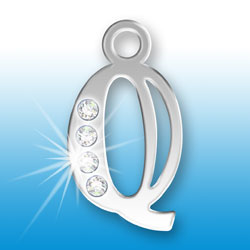 Letter Q Initial Charm With Crystals Image