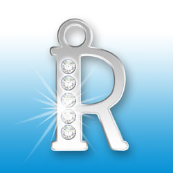 Letter R Initial Charm With Crystals Image
