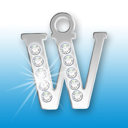 Letter W Initial Charm With Crystals Image